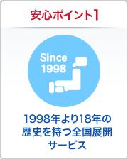 安心ポイント1 1998年より18年の歴史を持つ全国展開サービス